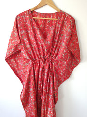 Red n White Floral Vintage Silk Long Kaftan