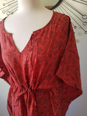 Red and Black Floral Vintage Silk Long Kaftan