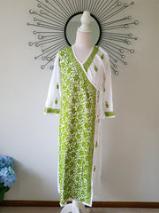 Angarkha Style Long Tunic Kurta 44 / Green