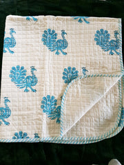 Baby Cotton Quilted Blanket Dohar And Headband Set - Peacock