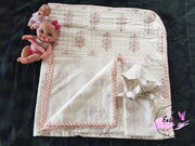 Baby Cotton Quilted Blanket Dohar And Headband Set - Pinktree
