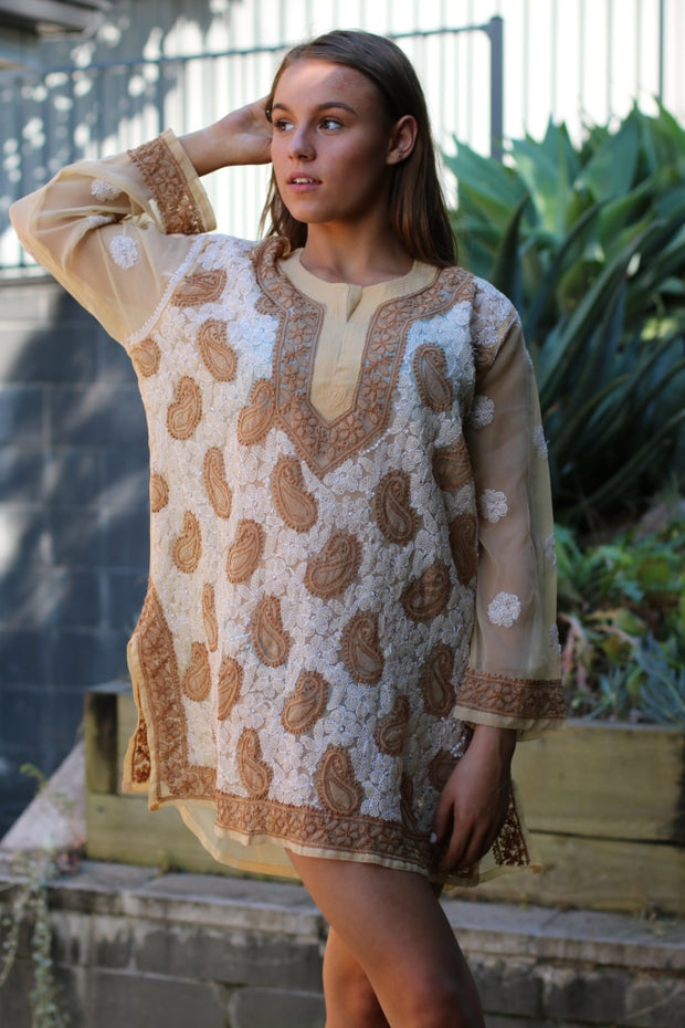Beige Hand Embroidered Georgette Tunic