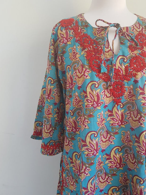 Bell Sleeves Hand Block Print Tunic Kurta With Chikankari Embroidery