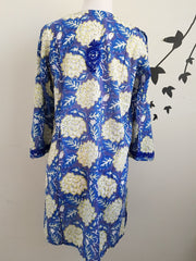 Big Floral Bell Sleeves Hand Block Print Tunic Kurta With Chikankari Embroidery