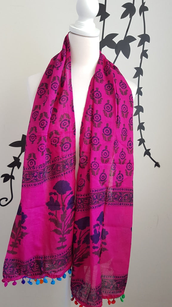 Block Print Indian Organic Cotton Voile Stole/scarve Stole