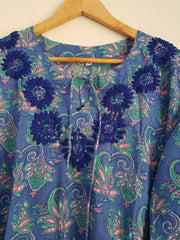 Blue Bell Sleeves Hand Block Print Tunic Kurta With Chikankari Embroidery