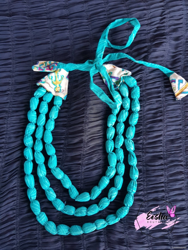 Blue Cotton Fabric Necklace