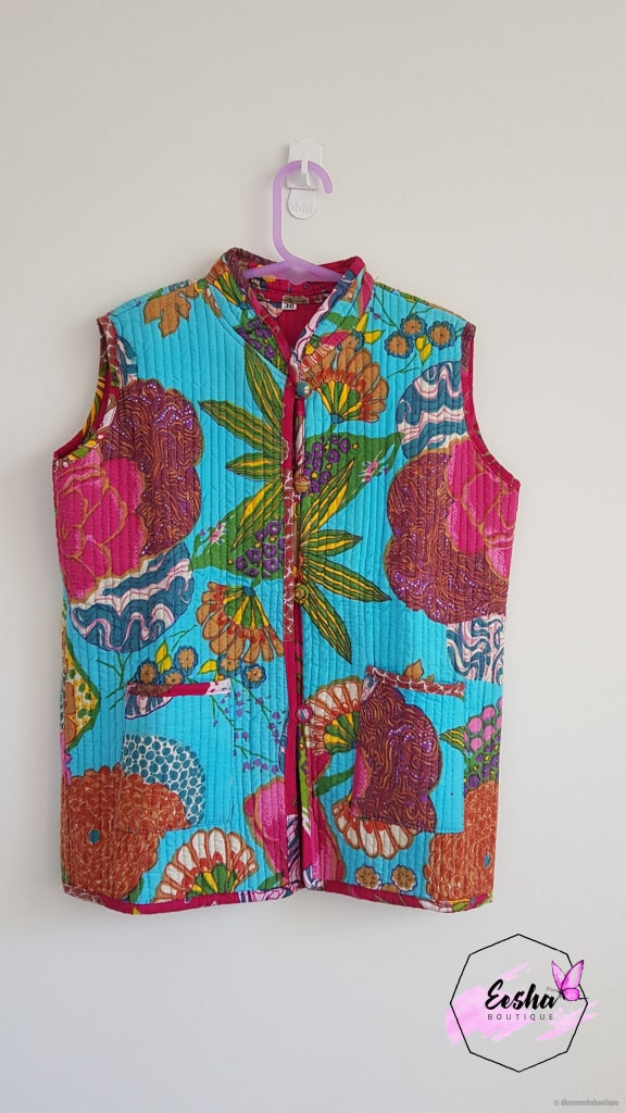 Bright Pink Floral Reversible Cotton Quilted Girls Vest Jacket