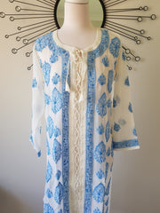 Chikankari Long Tunic -Hand Embroidered Georgette M / Blue