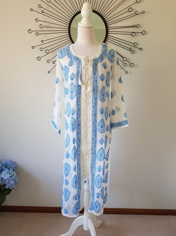 Chikankari Long Tunic -Hand Embroidered Georgette Xl / Blue