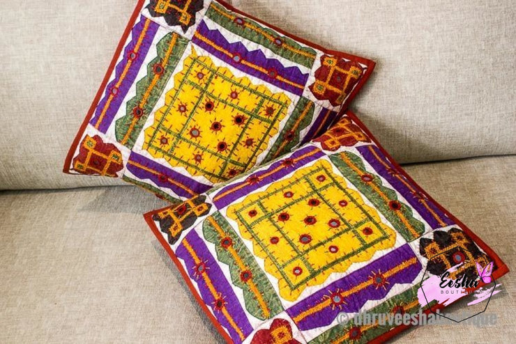 Decorative Patchwork Applique Mirror Work Pillow Cover Pillow Cover