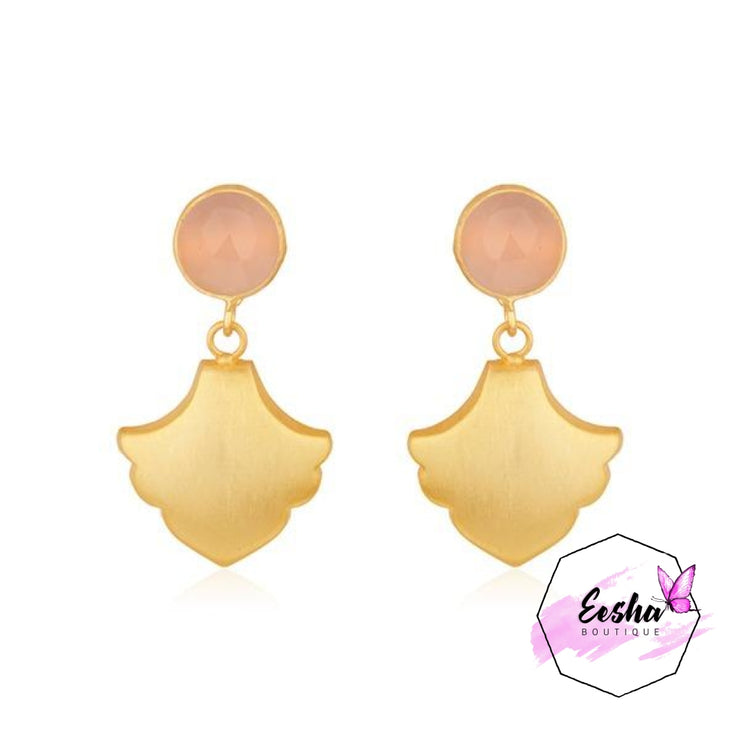 Designer 14K Gold Plated Brass Handmade Gemstone Earrings Jewelry