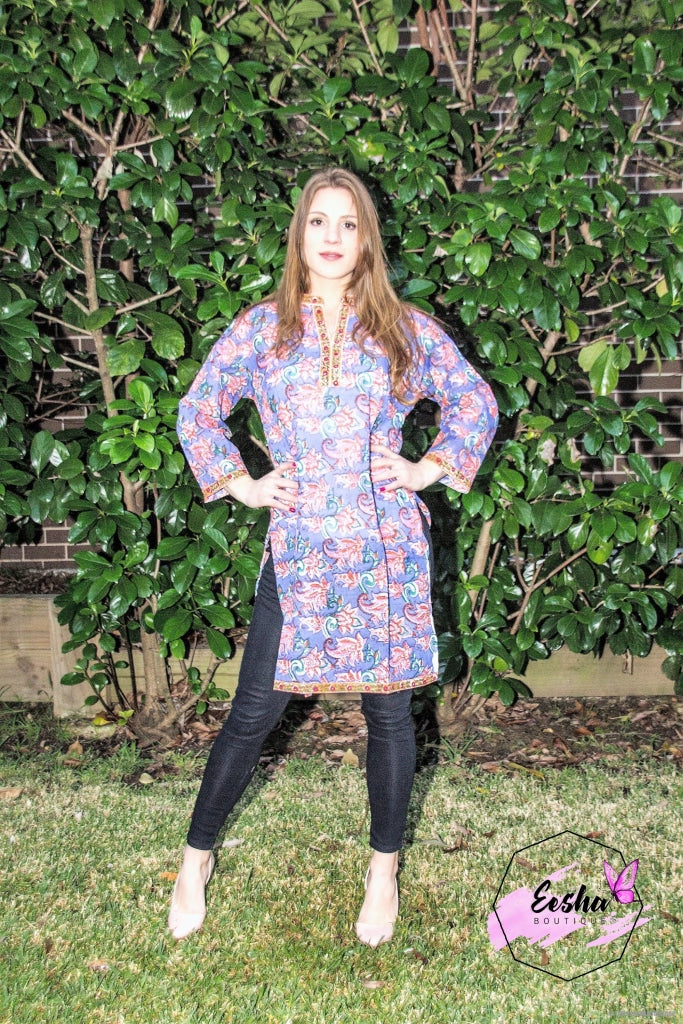 Floral Blue And Orange Cotton Hand Block Print Tunic