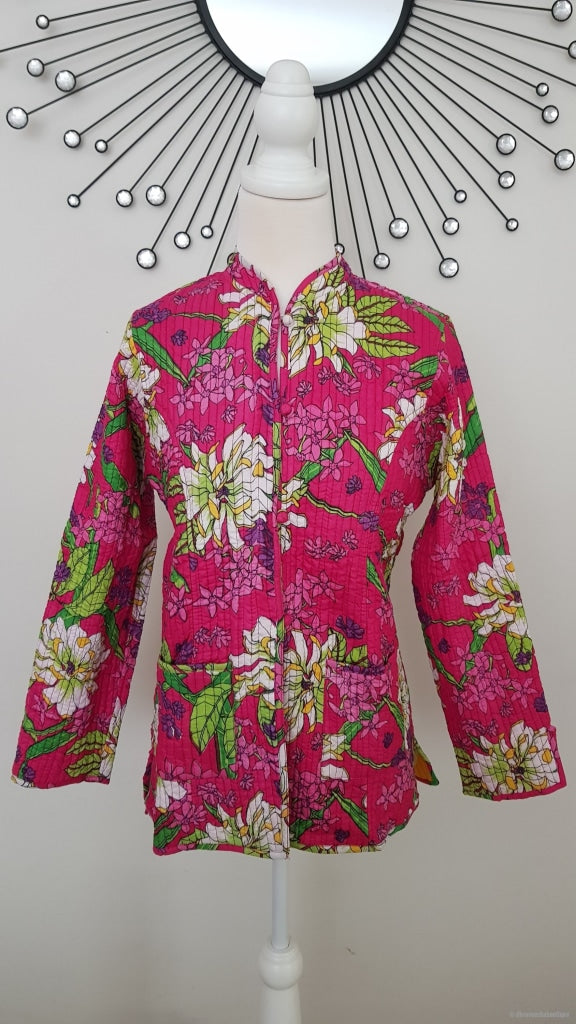 Floral Dark Pink Reversible Cotton Quilted Jacket