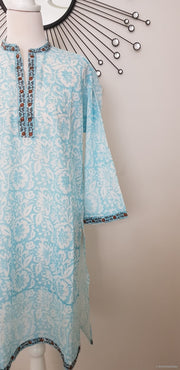 Floral Sky Blue Cotton Hand Block Print Tunic