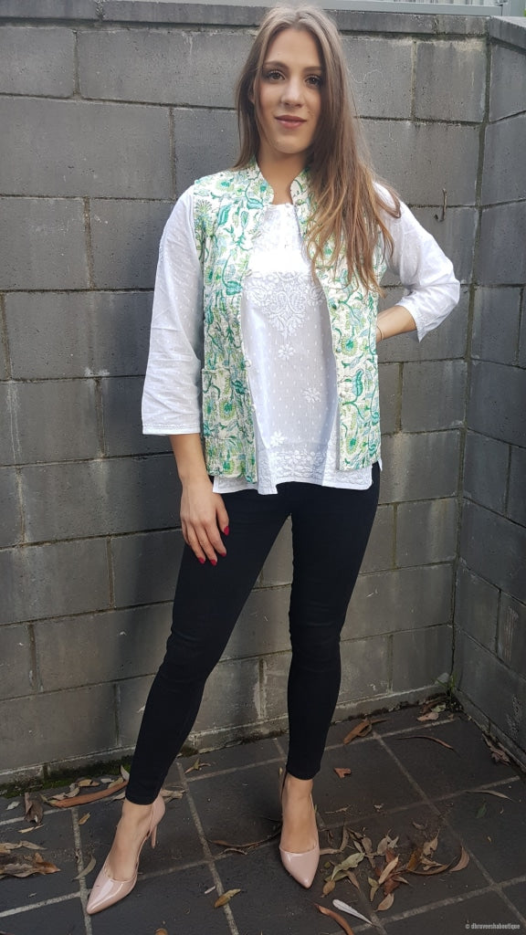 Floral Turquoise Reversible Cotton Quilted Jacket/vest Jacket