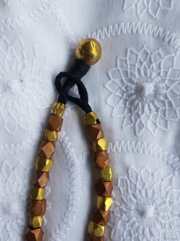 Geomatric Brass And Copper Bead Necklace