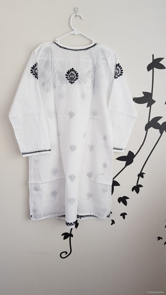 Girls White Tunic With Black Embroidery