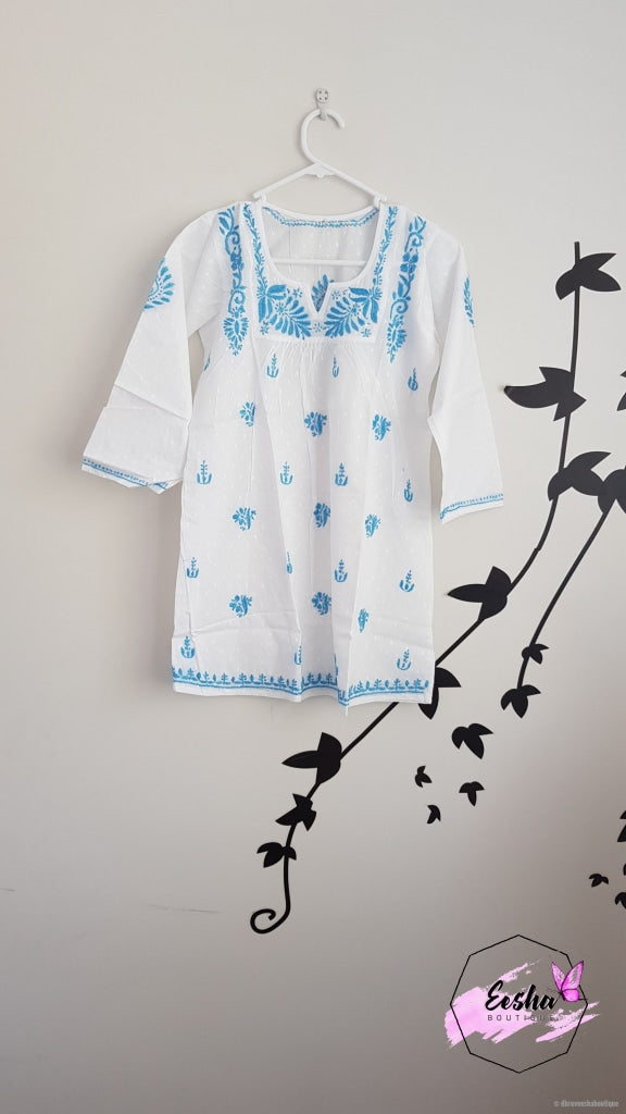 Girls White Tunic With Blue Embroidery