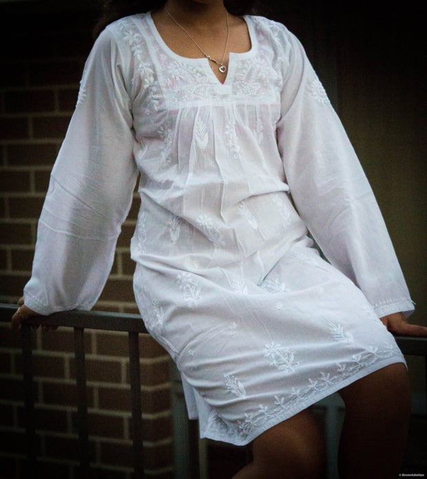 Girls White Tunic With Embroidery