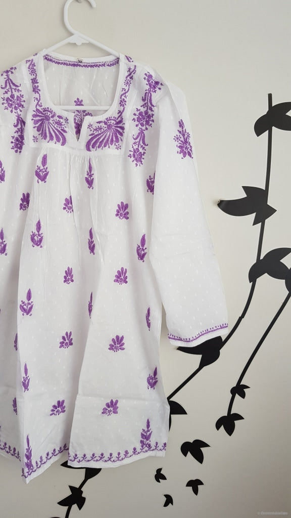 Girls White Tunic With Purple Embroidery