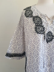 Gray Bell Sleeves Hand Block Print Tunic Kurta With Chikankari Embroidery