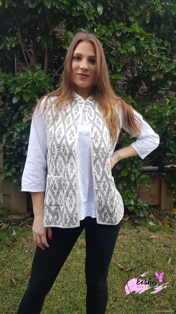Gray Ikat Reversible Cotton Quilted Jacket/vest Jacket