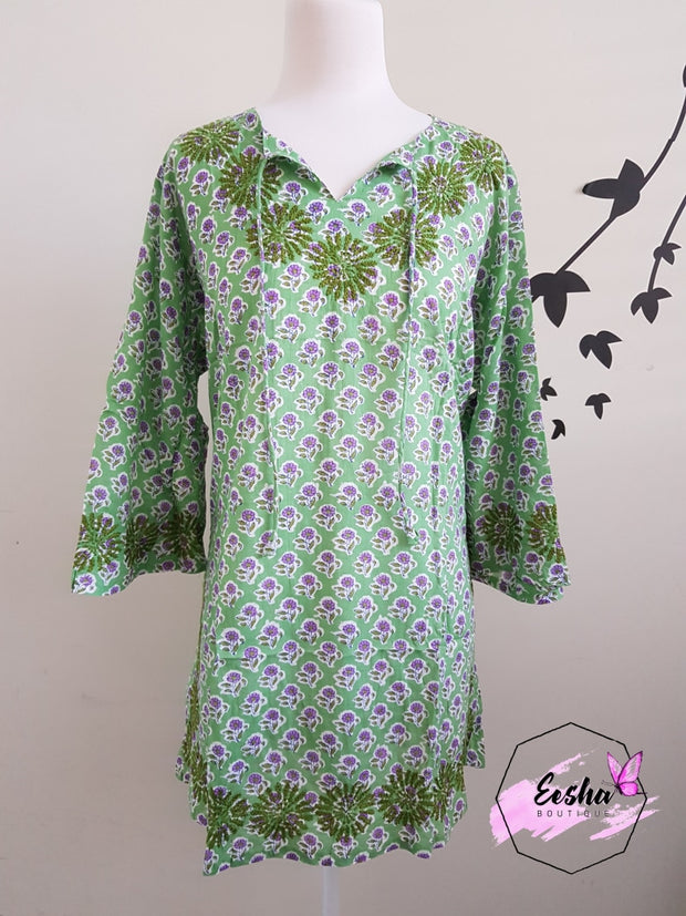 Green Bell Sleeves Hand Block Print Tunic Kurta With Chikankari Embroidery