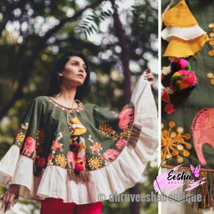 Green Khadi Poncho With Wool Embroidery