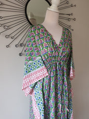 Green Paisley Hand Block Print Organic Cotton Voile Long Kaftan