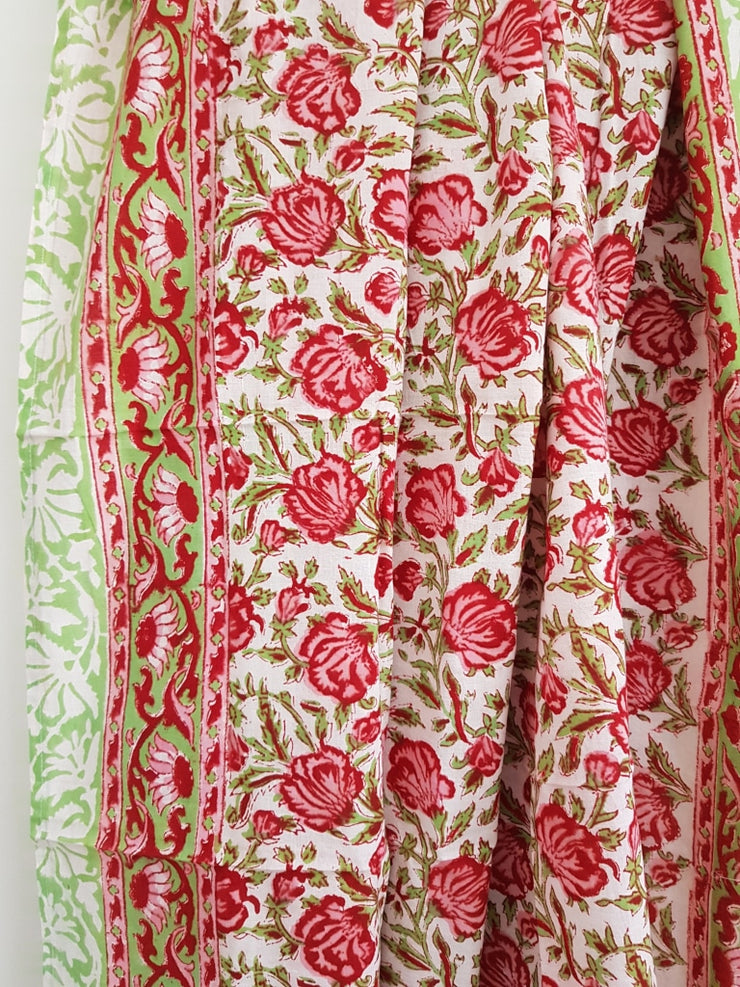 Hand Block Print Cotton Voile Sarong-Red Rosesl Stole