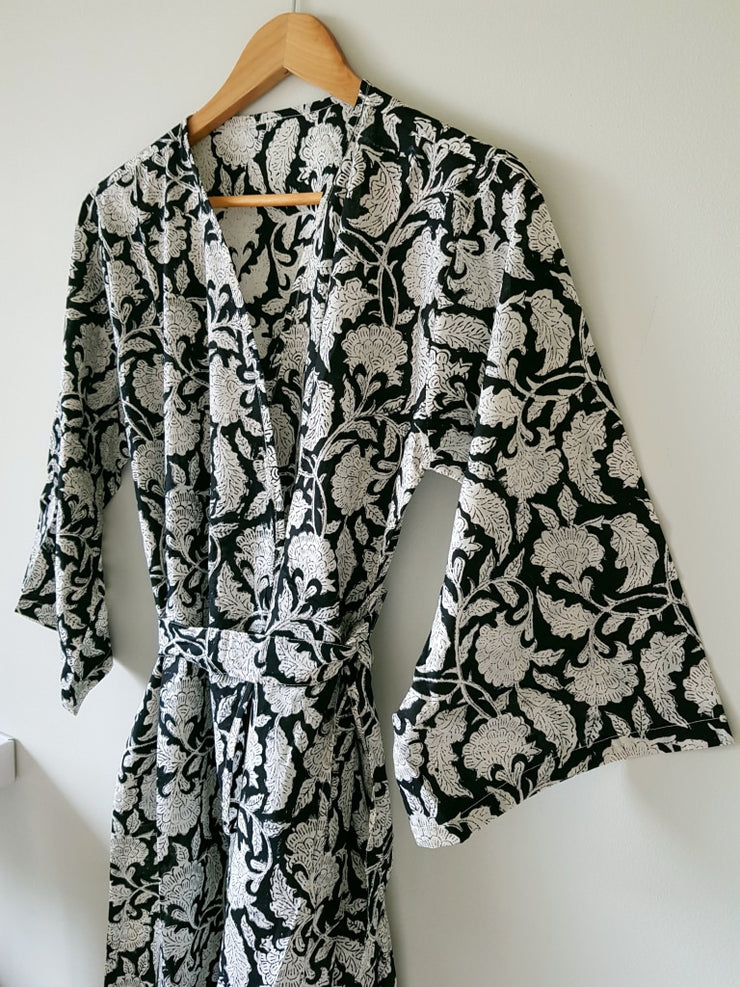Hand Block Print Cotton Voile Short Kimono Robe Black Floral Bridal Bridesmaid Dressing Gown Xs-L