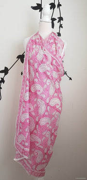 Hand Block Print Sarong-Pink Floral Stole
