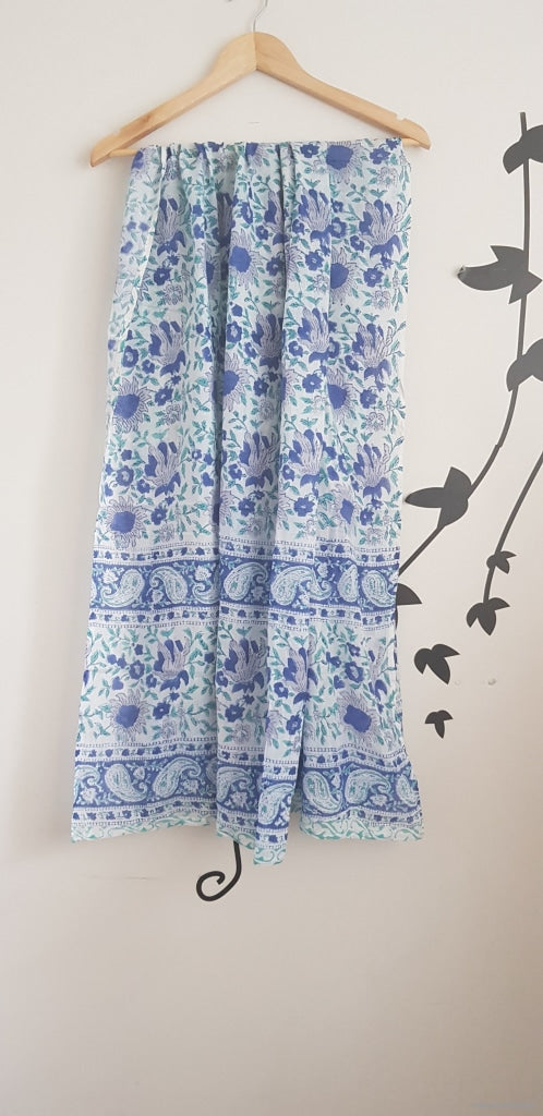 Hand Block Print Sarong-Sky Blue Floral Stole
