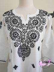 Hand Embroidered White Short Tunic Top