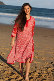 Ibiza Style Hand Embroidered Georgette Long Tunic