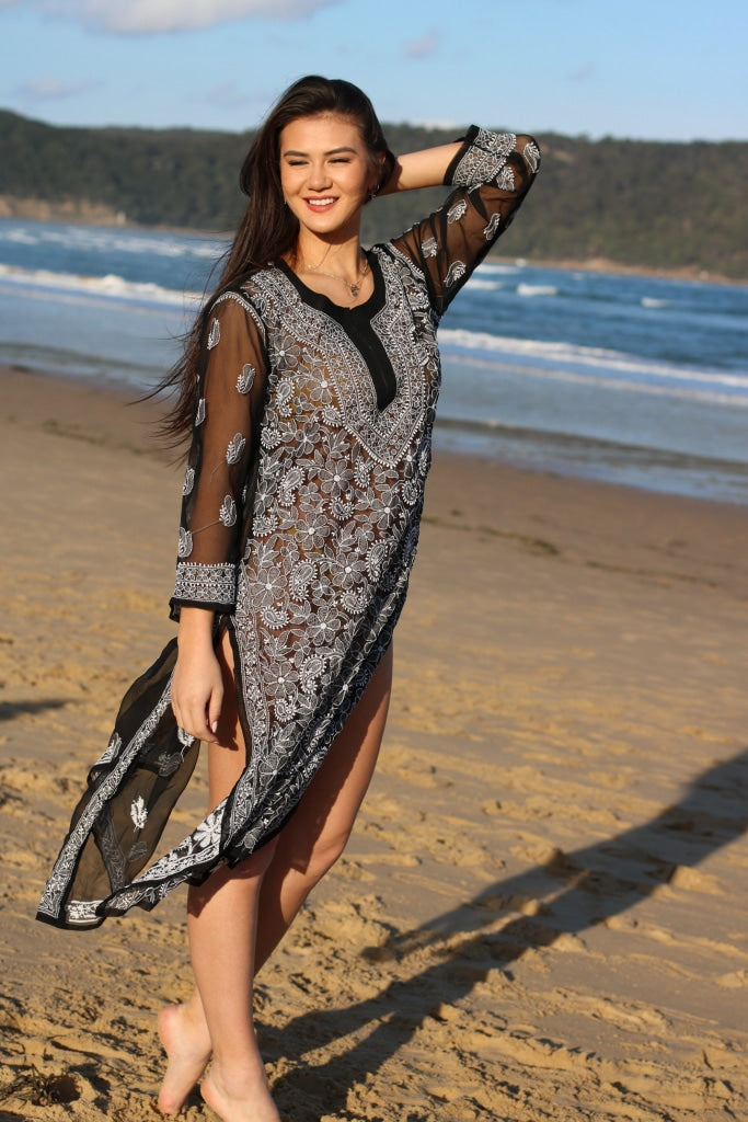 Ibiza Style Long Black Tunic -Hand Embroidered Georgette