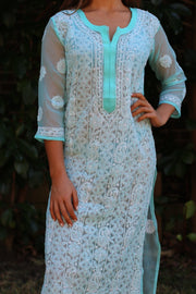 Ibiza Style Long Tunic - Indian Chikankari Hand Embroidered