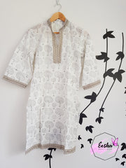Indian Cotton Hand Block Print Kurta Size -36 Xs Tunic