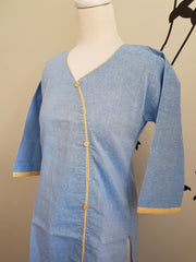 Indian Khadi Kurta Kurti Blue Tunic - S Size