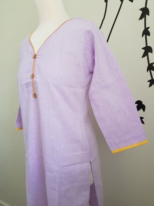 Indian Khadi Kurta Kurti Purple Tunic - S Size