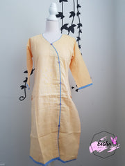 Indian Khadi Kurta Kurti Yellow Tunic - S Size