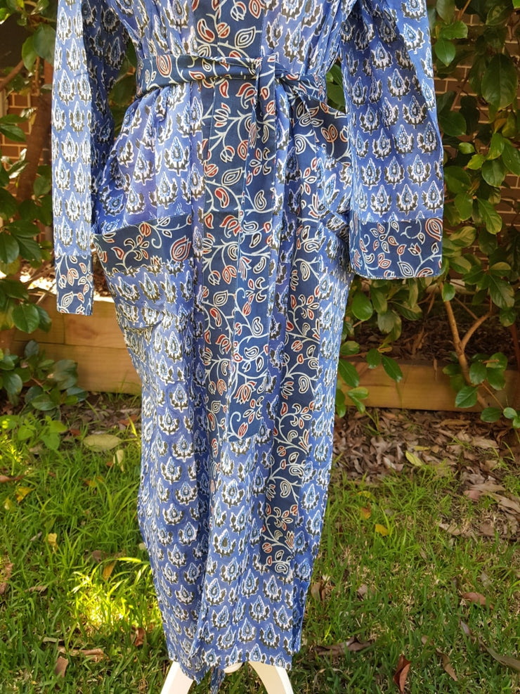 Indian Organic Cotton Hand Block Print Kimono Robe - Blue And Indigo Big Floral- S/m