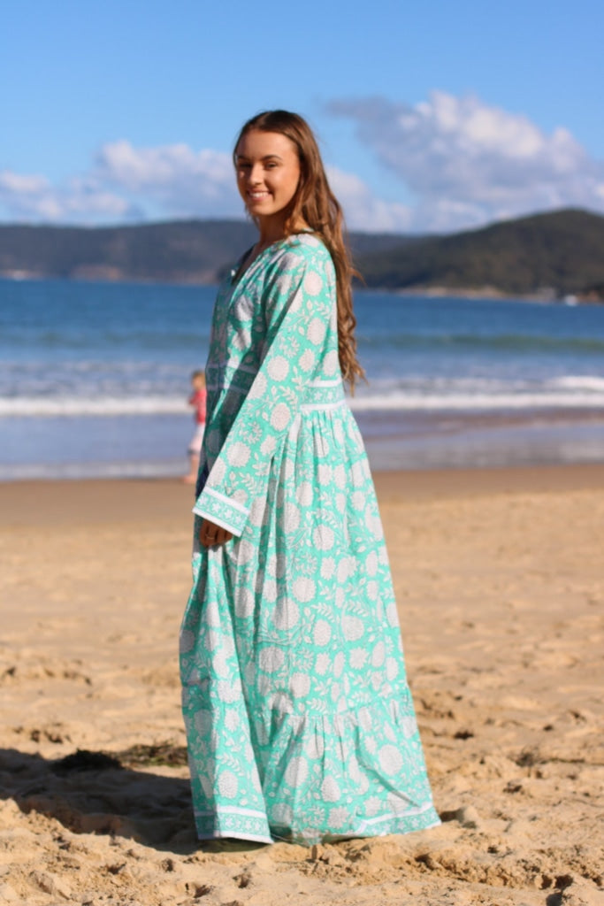 Indian Organic Cotton Hand Block Print Long Maxi Dress With Tussles