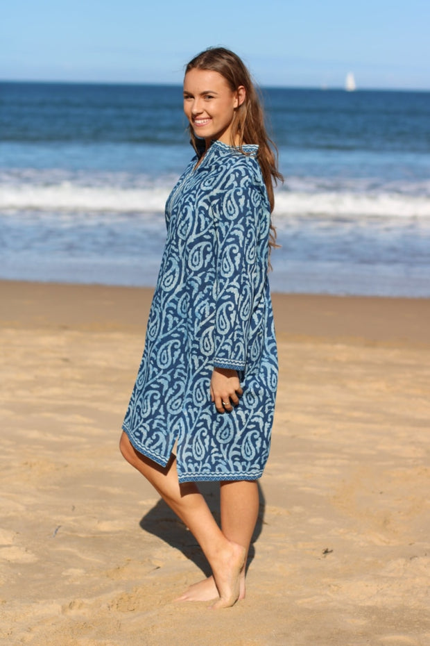 Indigo Blue Cotton Hand Block Print Kurta/tunic Tunic