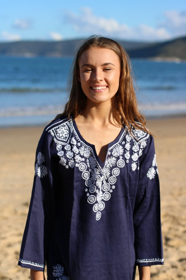 Indigo Hand Embroidered Long Tunic