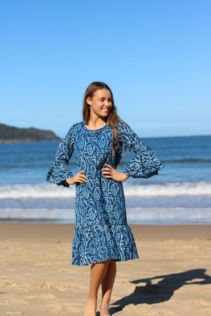 Indigo Paisley Block Print Short Dress
