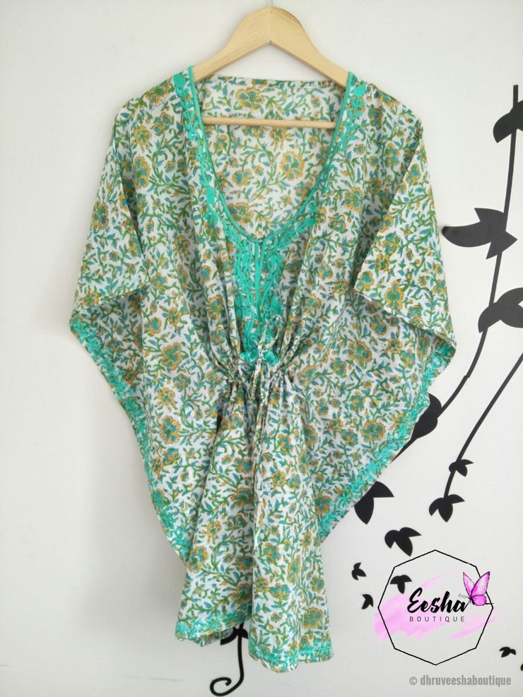 Kaftan - Turquoise Blue Floral Embroidered