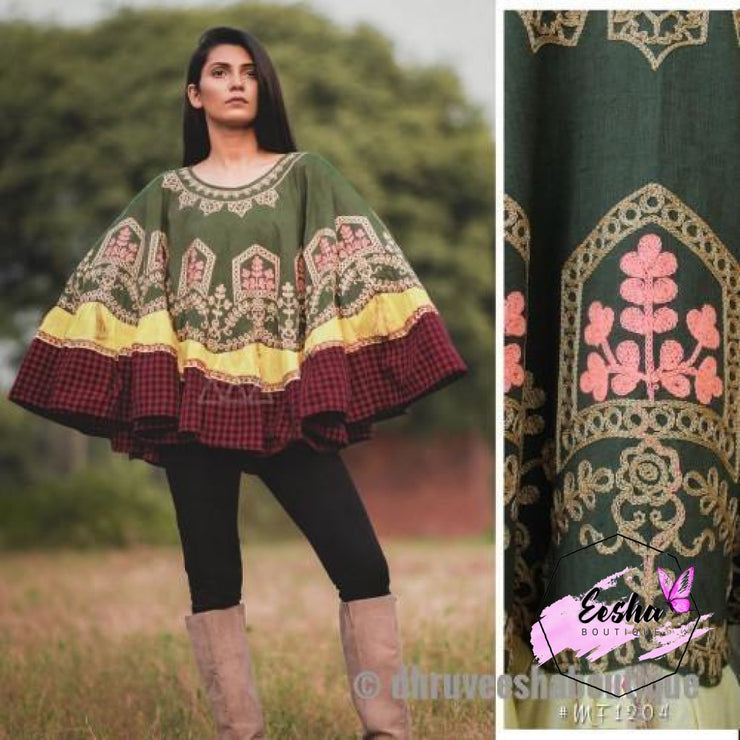 Khadi Poncho With Wool Embroidery