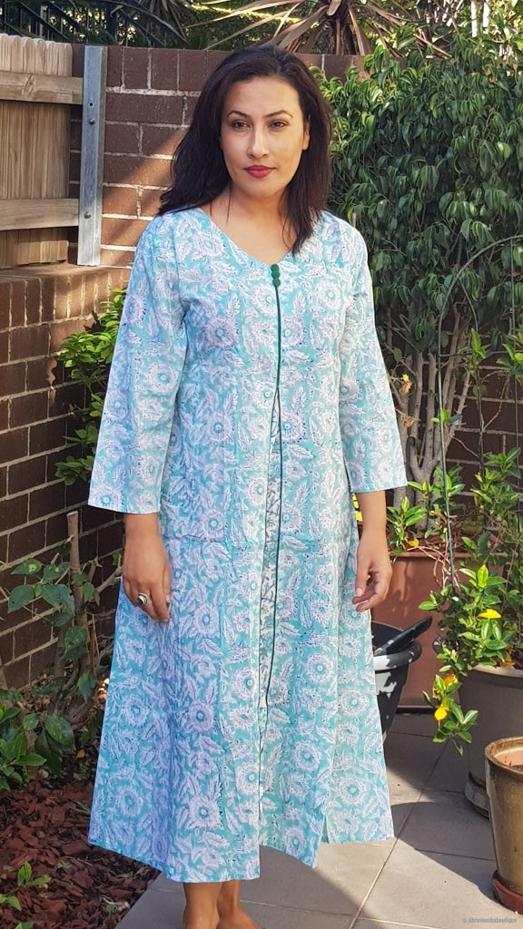 Light Blue Long Kaftan Summer Dress